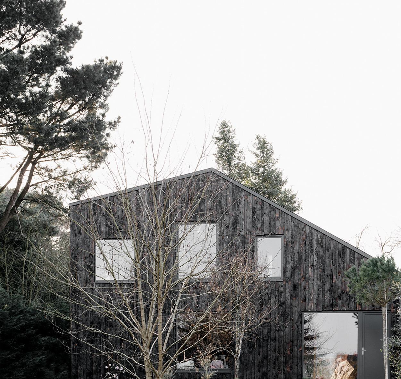 maison en bois brûlé